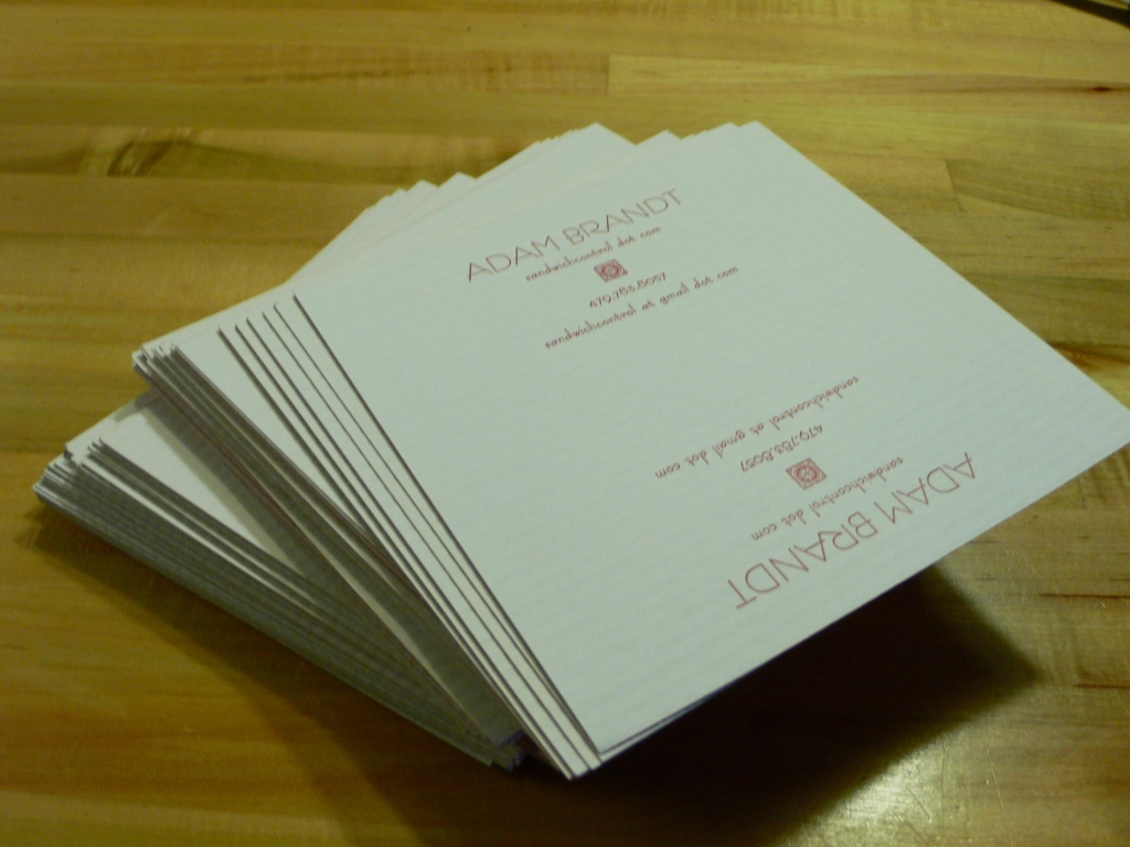 One stack of business cards, hot off the presses. Or rather, press.