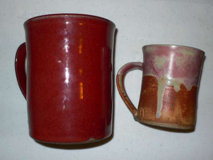 On the right we have a standard 8oz coffee mug. On the left we have a custom 40oz. coffee mug.